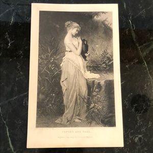 "Psyche & Vase - 9"" x 5.75"" - Antique Engraving"